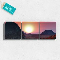 Obraz na płótnie zachód słońca na pustyni tryptyk. #tryptyk #obraz #zachód #wschód #słońce #góry #fotografia