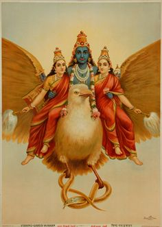 vintage illustration, Vishnu on Garuda, c. 1910