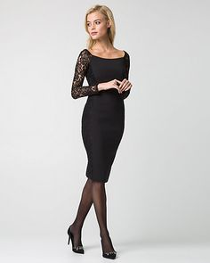 Double Weave Boat Neck Cocktail Dress - Lace sleeves update a classic, boat neck cocktail dress for a chic and playful style.