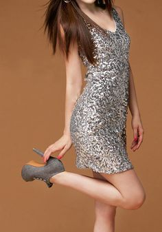 Silver Sequins Bodycon Dress - all eyes will be on you from the second you walk in the door wearing this sparkling bodycon silver dress!