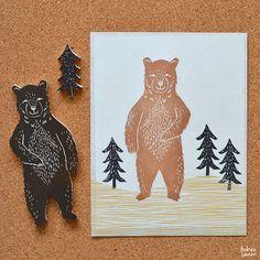 Andrea Lauren: Making Stamps: Forest Bear