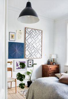 Soveværelse med cool billedvæg