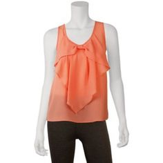 Bow Blouse Super cute pink/salmon bow tank! Hardly worn, no imperfections,  practically new. Sheer, perfect for bandeu's. Feel free to hit the offer button and I do trade :) Iz Byer Tops Blouses