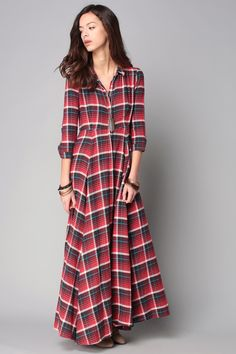 Robe chemisier à carreaux manches longues -rouge noir-French SheIn ... 63f6e13e061a