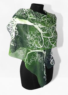 Long silk scarves White Tree in Green hand painted hand made Scarf - green white LOTR