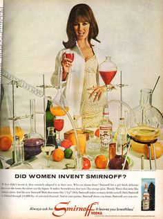 Did women invent Smirnoff? 1960s Advertising, Vintage Advertisements, Vintage Ads, Vodka Alcohol, Smirnoff, Retro Art, Drinks, Alcoholic Beverages, Childhood Memories