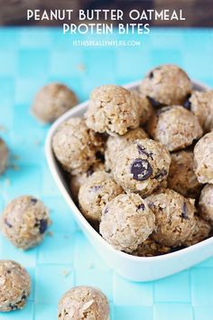 No-bake peanut butter oatmeal protein bites 1 -- THE BEST recipe for energy bites I have ever tasted!