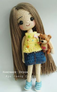 Crochet baby doll with a mini teddy bear. Would so sweet for a little girls Christmas gift. Homemade present - Salvabrani 10 inches Crochet doll amigurumi : Made to order Amigurumi crochet doll This Pin was discovered by Ciu Little doll with very long ha Crochet Dolls Free Patterns, Crochet Doll Pattern, Amigurumi Patterns, Doll Patterns, Art Au Crochet, Love Crochet, Crochet Crafts, Crochet Projects, Crochet Amigurumi