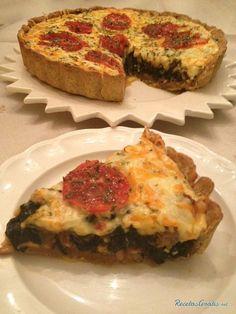 Quiche integral de espinacas y tomate Vegetarian Pie, Easy Cooking, Deli, Breakfast, Sweet, Empanadas, Quiches, Queso, Food