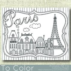 Página para colorear de París para imprimir para adultos, PDF / JPG, Instant Download, libro, para colorear para colorear la hoja, Grown Ups, sello Digital