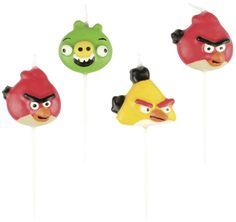 Zestaw 4 świeczek na tort w kształcie postaci z kultowej bajki Angry Birds.  Twarzami serii są Ptak Red, Chuk oraz Król Świń.