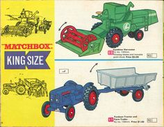 Matchbox Lesney 1969 catalog Page 26, Matchbox King Size K-9 Combine Harvester; K-11 Fordson Tractor and Farm Trailer