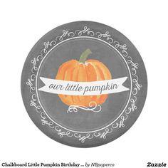 Chalkboard Little Pumpkin Birthday Paper Plate