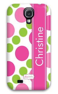 Pearl String Pink & Green Monogrammed Samsung Galaxy S4 Case