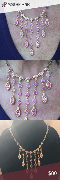 SWAROVSKI gold plated necklace with pink stones. Elegant and beautifully hand crafter adjustable necklace with unusual sparkle pink stones. Might be mistaken for the queens jewels. Swarovski Jewelry Necklaces