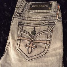Rock Revival Gray Bootcut Jeans Great condition! Hardly worn! Feel free to ask questions no trades please!  Thanks! Rock Revival Jeans Boot Cut
