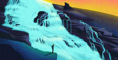 The Waterfall by Giuseppe Di Lernia > stunning use of color!  #illustration #landscape #art