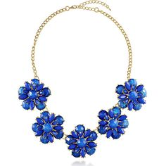 BERRICLE Gold-Tone Resin Flower Fashion Bib Statement Necklace ($29) ❤ liked on Polyvore featuring jewelry, necklaces, accessories, blue, statement necklace, women's accessories, floral necklace, floral bib necklace, blue necklace and resin flower necklace