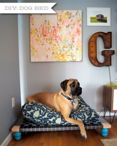 Wouldn't it be Lovely: DIY: Easy Dog Bed This DIY bed is simply BRILLIANT! I will be attempting this over the winter to make a platform for the toddler-crib-mattress-turned-dog-bed we made for Malcolm. American Mastiff, Elevated Dog Bed, Diy Bett, Designer Dog Beds, Diy Dog Bed, Homemade Dog Bed, Pet Furniture, Pet Beds, Pet Products