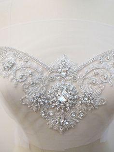 Crystal Rhinestone Applique for Sweetheart Neckline Bridal Dresses Wedding Gown
