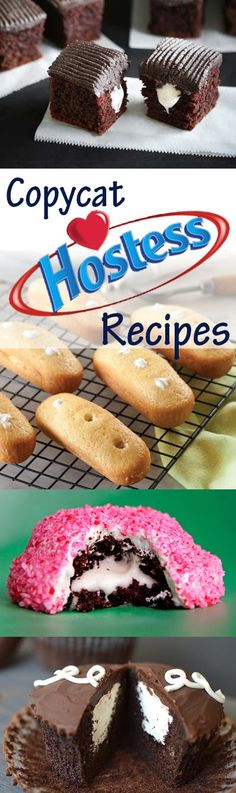 This is an AMAZING list of copycat Hostess recipes! - This is an AMAZING list of copycat Hostess recipes! Homemade Twinkies, Ding Dongs, Zingers, and mor - Just Desserts, Delicious Desserts, Dessert Recipes, Yummy Food, Drink Recipes, Cake Recipes, Cupcakes, Cupcake Cakes, Recipes
