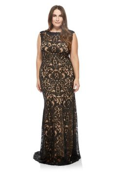 d51ff224dd1 Corded Embroidery on Tulle Boatneck Gown - PLUS SIZE