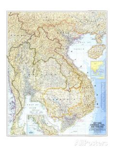 Framed Art Print: 1967 Vietnam, Cambodia, Laos, and Thailand Map by National Geographic Maps : Framed Maps, Framed Art Prints, Poster Prints, National Geographic Maps, Thailand Art, Map Wall Art, Historical Maps, Cool Posters, Stretched Canvas Prints