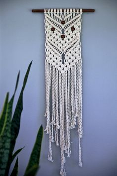 Small Macrame Wall Hanging Natural White Cotton by BermudaDream