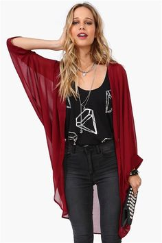 Simple Kimono in Burgundy.  Get 8% cash back at necessary Clothing http://www.stackdealz.com/all/get-all-student-deals/Necessary-Clothing-Coupon-Codes-and-Discounts--/0