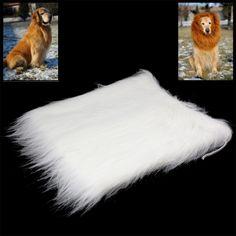 Large Pet Dog Cat Lion Wigs Mane Hair Festival Party Fancy Dress Clothes Costume (White)