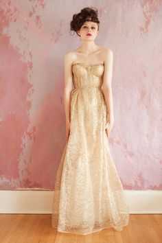 Gold wedding gown | Designer: Sarah Seven - http://www.sarahseven.com