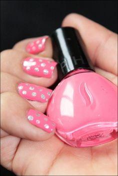 Pink and silver polka dot nails