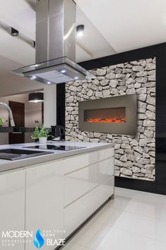 This wall wall-hanging electric fireplace with stainless steel frame is perfect for kitchens and modern interiors. Fireplace Dimensions, Wall Frames, Interior, Living Room Flooring, Wall, Cool Walls, Modern Interior, Fireplace, Wall Design