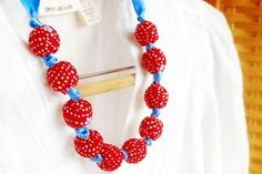 Textile Bead Necklace $18.00 #red #turquoise #polkadot #fabric #necklace @Boutique Vintage 72