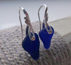 Blue Sea Glass Sterling Silver Earrings by SeahamWaves on Etsy