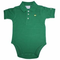 A very popular item for Masters infant items. Comes in 6 Months, 12 Months, and 18 Month sizes.  This cute baby onesie is perfect for your future golfer. This onsie looks like a miniature golf shirt but has the convenient snaps of a onesie. Children's Augusta National pro shop apparel sells quickly, so make sure you purchase yours today! Makes a great baby shower gift.