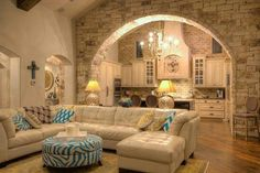 Love this design with the pop of color, mix of stone/brick walls.