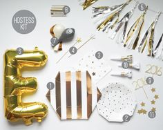 Silver and Gold New Years Eve Party Kit   NYE party supplies, and decor. New Years Party in a box