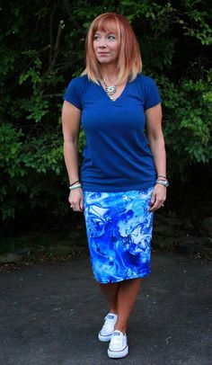 Style To Inspire Link Up And A Hot Mess: Watercolor Print Pencil Skirt, Blue T-shirt And Converse - Fashion Fairy Dust