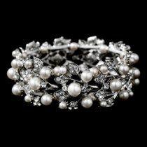 Bridal Wedding Jewelry Crystal Rhinestone Pearl Leaf Stretch Bracelet%