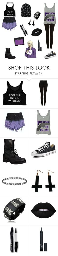 """""""daughter of 2p france"""" by nekogirluke ❤ liked on Polyvore featuring Topshop, Evil Twin, Steve Madden, Converse, Chicnova Fashion, Bling Jewelry, Lime Crime, Lancôme and NARS Cosmetics"""