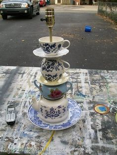 Teacup lamp ... I LOVE tea cups and this is a great way to show them off