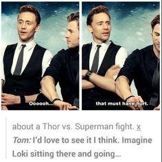 batman, chris hemsworth, dc comics, funny, loki, marvel, superman, thor, tom hiddleston