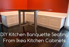 Hey what if we got old cabinets and used them? Put them on their backs and we'd have a hinged top for bench storage... need a flat plain front though, Restore!