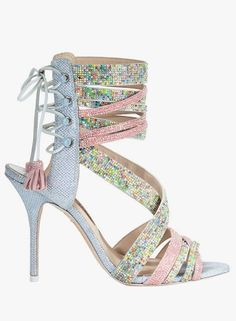 Sophia Webster Adeline dreamy crystal lace-up sandals in pink/blue.