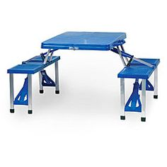 @Overstock - Carry a roomy seating area with you wherever you go, courtesy of this portable picnic table. Lightweight and durable, and with enough seating space for four people, this collapsible picnic table breaks down to suitcase size for easy transport.http://www.overstock.com/Sports-Toys/Picnic-Time-Blue-Folding-Table-with-Seats/4869971/product.html?CID=214117 Add to cart to see special price