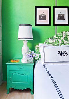 Master Bedroom | Monogrammed perfection | Emerald Green | Headboard
