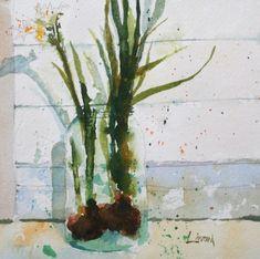 paper whites, bulbs, flowers, watercolor, painting, fine art, Lisa Livoni, Napa Valley artist, colorist