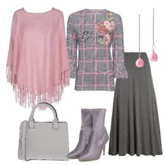 Mantella rosa e blusa fantasia  outfit donna Bon Ton per tutti i giorni  5b0bd6a05e2