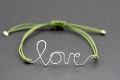 Handwritten Love Bracelet  Barnyard Grass Silver by ArtisanTree, $18.00